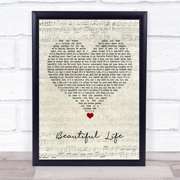 Zak Abel Beautiful Life Script Heart Song Lyric Wall Art Print