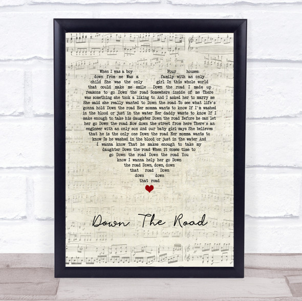 Kenny Chesney Down The Road Script Heart Song Lyric Wall Art Print