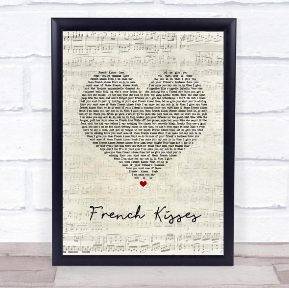 ZieZie feat. Aitch French Kisses Script Heart Song Lyric Wall Art Print