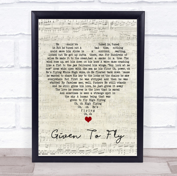 Pearl Jam Given To Fly Script Heart Song Lyric Wall Art Print