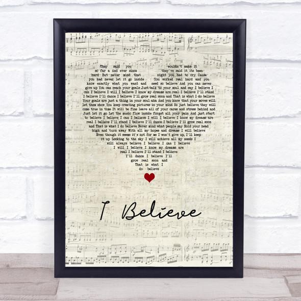 Yolanda Adams I Believe Script Heart Song Lyric Wall Art Print