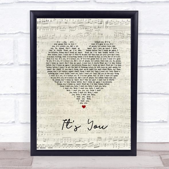 Ali Gatie It's You Script Heart Song Lyric Wall Art Print