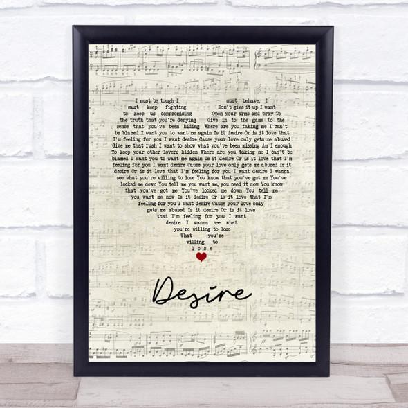 Years & Years Desire Script Heart Song Lyric Wall Art Print
