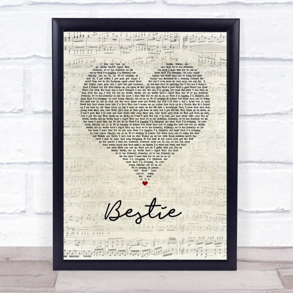 Yungen Bestie Script Heart Song Lyric Wall Art Print