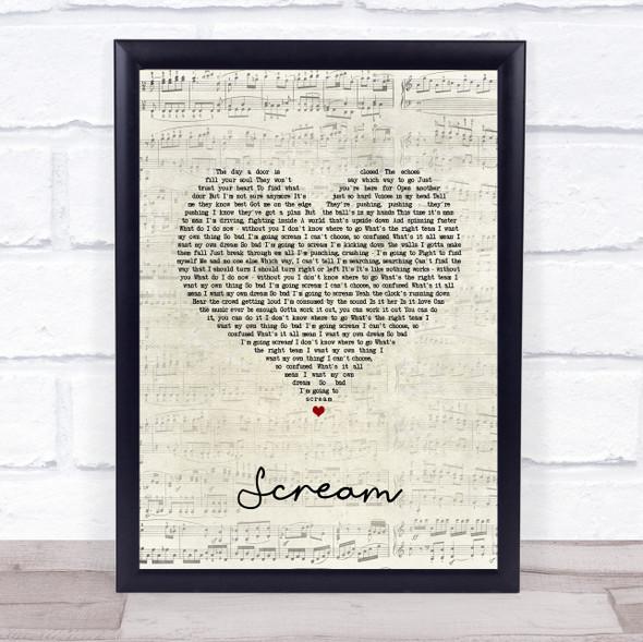 Zac Efron Scream Script Heart Song Lyric Wall Art Print