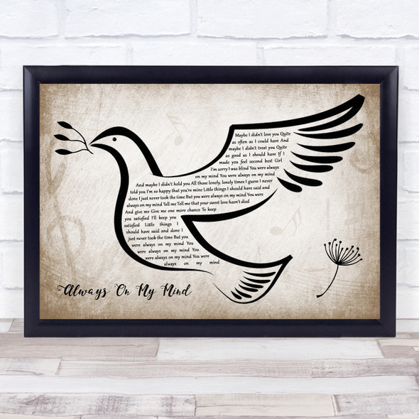 Willie Nelson Always On My Mind Vintage Dove Bird Song Lyric Wall Art Print