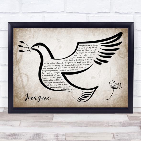 John Lennon Imagine Vintage Dove Bird Song Lyric Wall Art Print