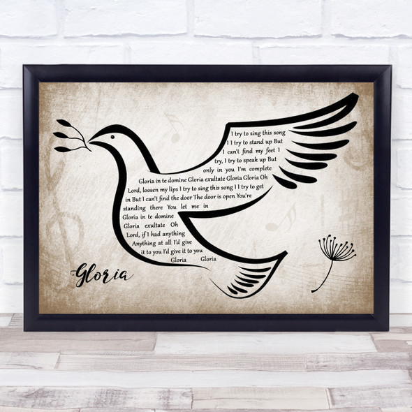 U2 Gloria Vintage Dove Bird Song Lyric Wall Art Print