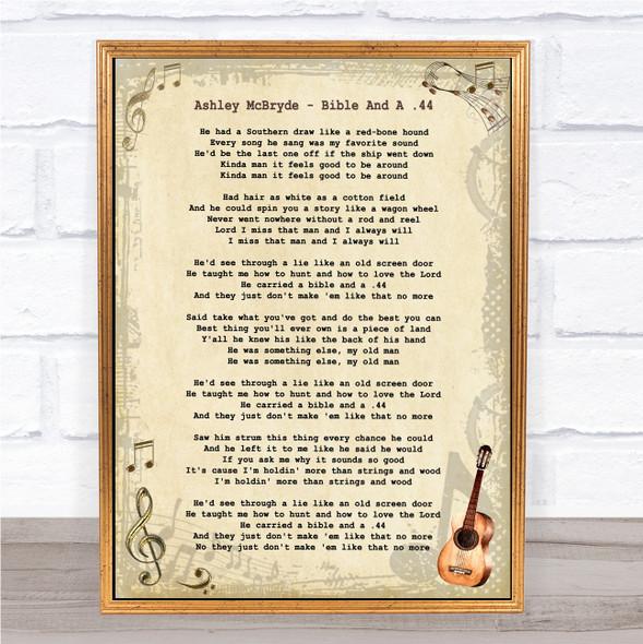 Ashley McBryde Bible And A .44 Vintage Guitar Song Lyric Wall Art Print
