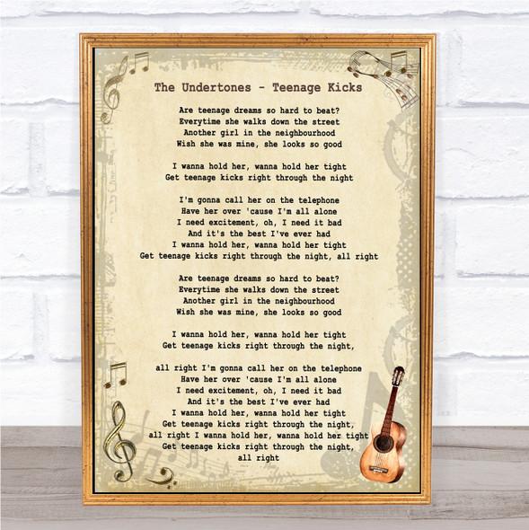 The Undertones Teenage Kicks Vintage Guitar Song Lyric Wall Art Print