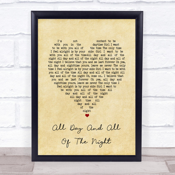 The Kinks All Day And All Of The Night Vintage Heart Song Lyric Wall Art Print