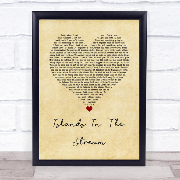Kenny Rogers & Dolly Parton Islands In The Stream Vintage Heart Song Lyric Wall Art Print