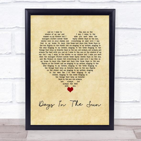 Ziggy Alberts Days In The Sun Vintage Heart Song Lyric Wall Art Print