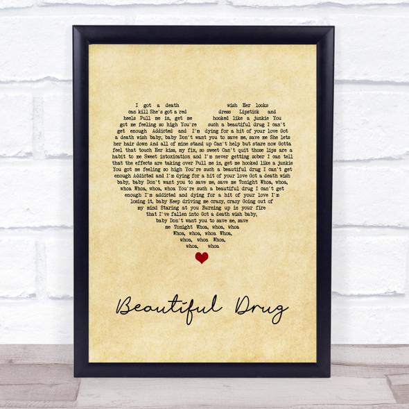 Zac Brown Band Beautiful Drug Vintage Heart Song Lyric Wall Art Print