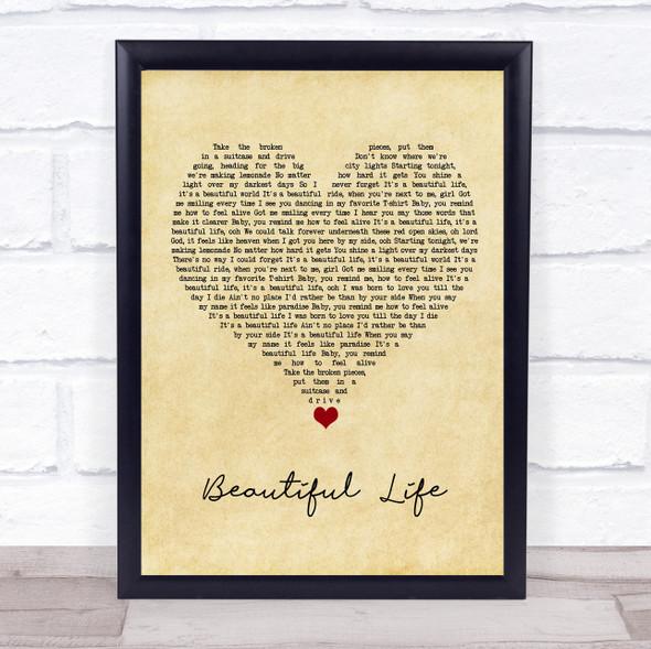 Zak Abel Beautiful Life Vintage Heart Song Lyric Wall Art Print