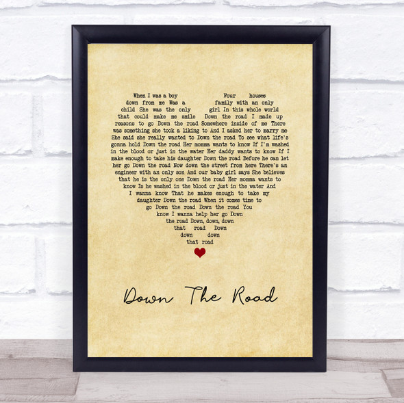 Kenny Chesney Down The Road Vintage Heart Song Lyric Wall Art Print