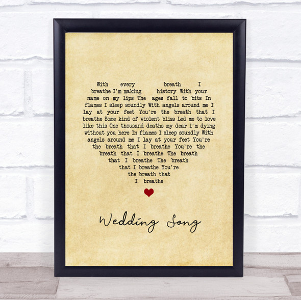 Yeah Yeah Yeahs Wedding Song Vintage Heart Song Lyric Wall Art Print