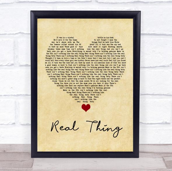 Zac Brown Band Real Thing Vintage Heart Song Lyric Wall Art Print