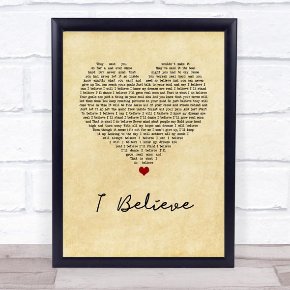 Yolanda Adams I Believe Vintage Heart Song Lyric Wall Art Print