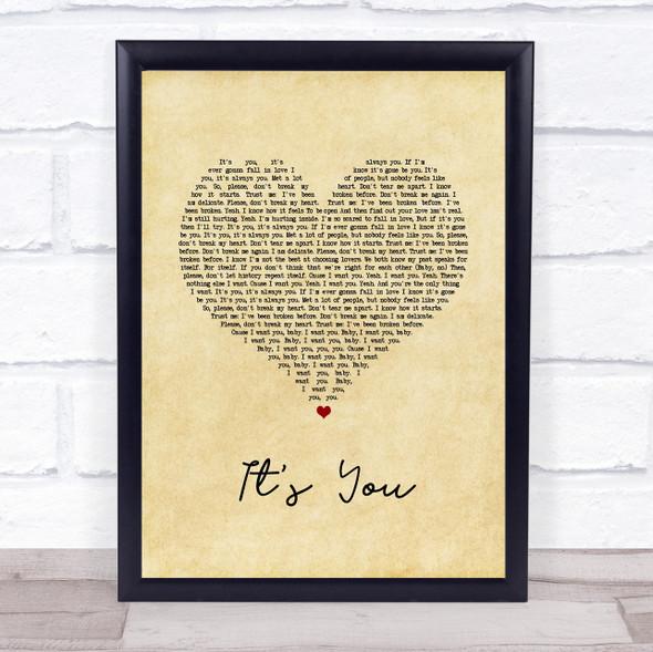 Ali Gatie It's You Vintage Heart Song Lyric Wall Art Print