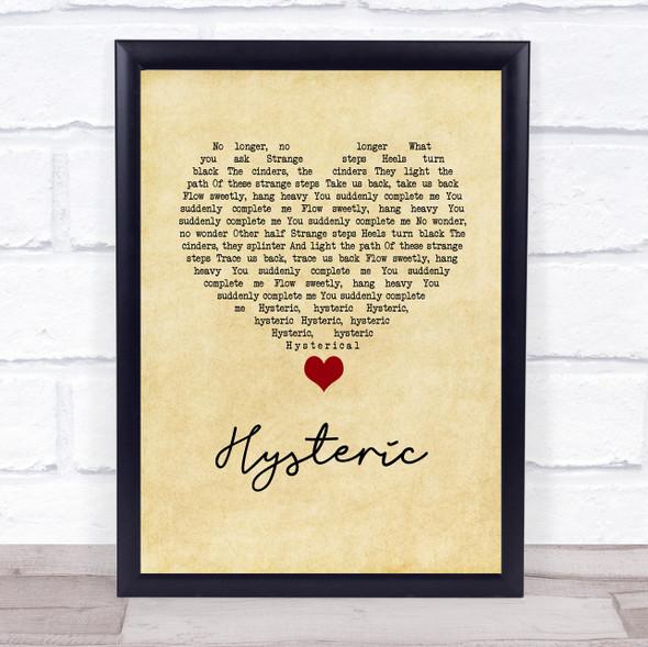 Yeah Yeah Yeahs Hysteric Vintage Heart Song Lyric Wall Art Print