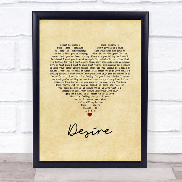 Years & Years Desire Vintage Heart Song Lyric Wall Art Print
