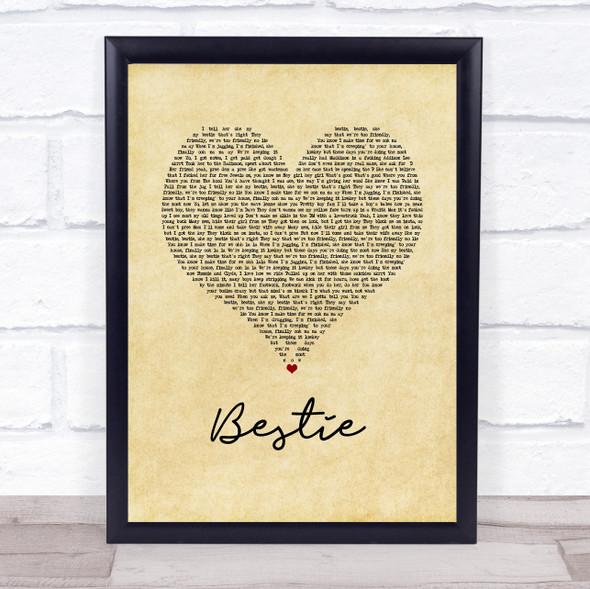 Yungen Bestie Vintage Heart Song Lyric Wall Art Print