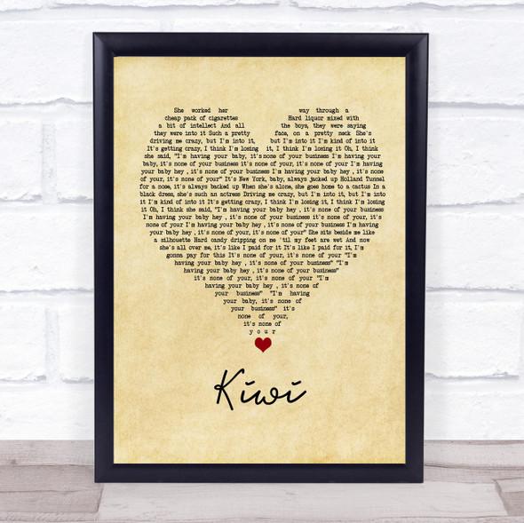 Harry Styles Kiwi Vintage Heart Song Lyric Wall Art Print