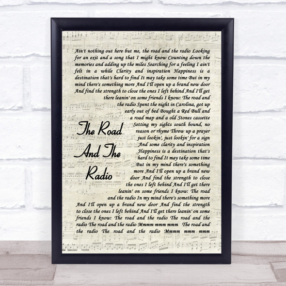 Kenny Chesney The Road And The Radio Vintage Script Song Lyric Wall Art Print