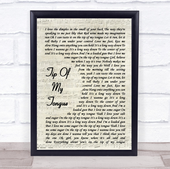 Kenny Chesney Tip Of My Tongue Vintage Script Song Lyric Wall Art Print