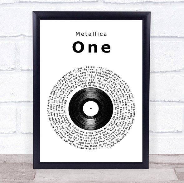Metallica One Vinyl Record Song Lyric Wall Art Print