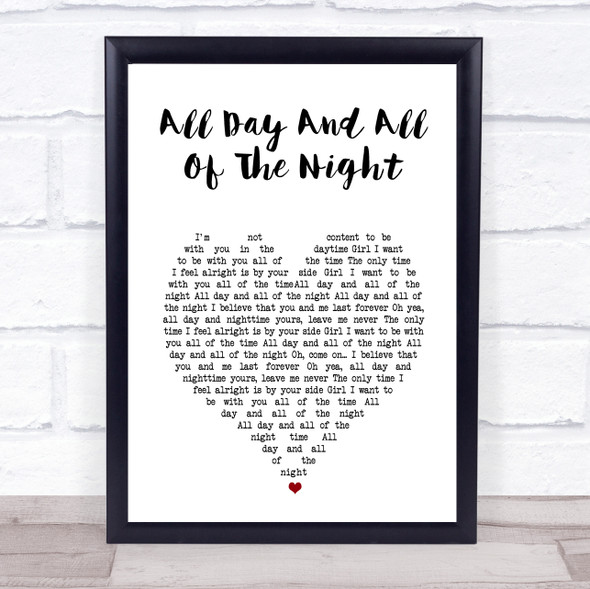 The Kinks All Day And All Of The Night White Heart Song Lyric Wall Art Print