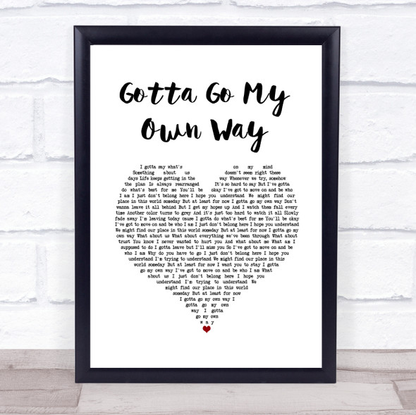 Zac Efron & Vanessa Hudgens Gotta Go My Own Way White Heart Song Lyric Wall Art Print