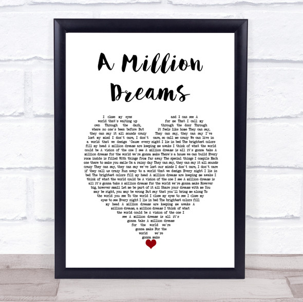 Ziv Zaifman, Hugh Jackman, Michelle Williams A Million Dreams White Heart Song Lyric Wall Art Print