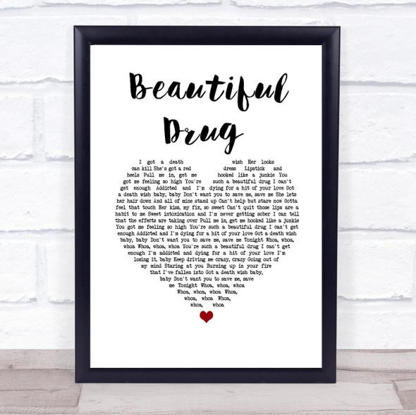 Zac Brown Band Beautiful Drug White Heart Song Lyric Wall Art Print
