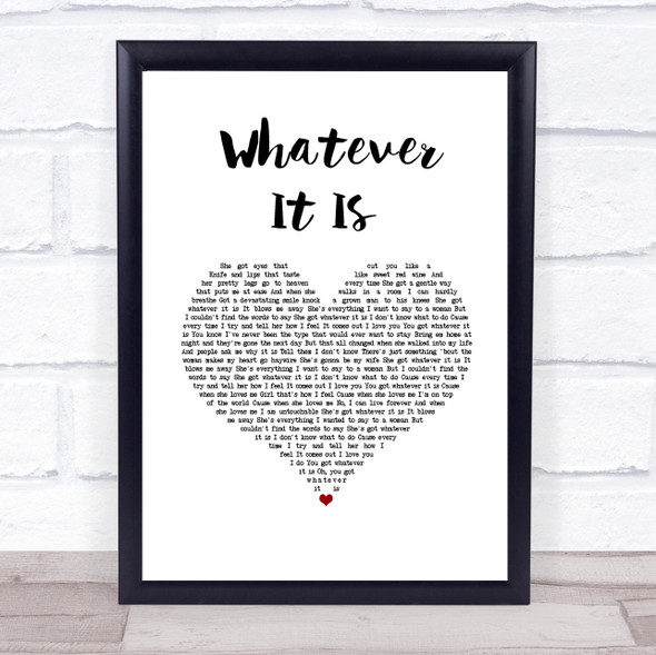 Zac Brown Band Whatever It Is White Heart Song Lyric Wall Art Print