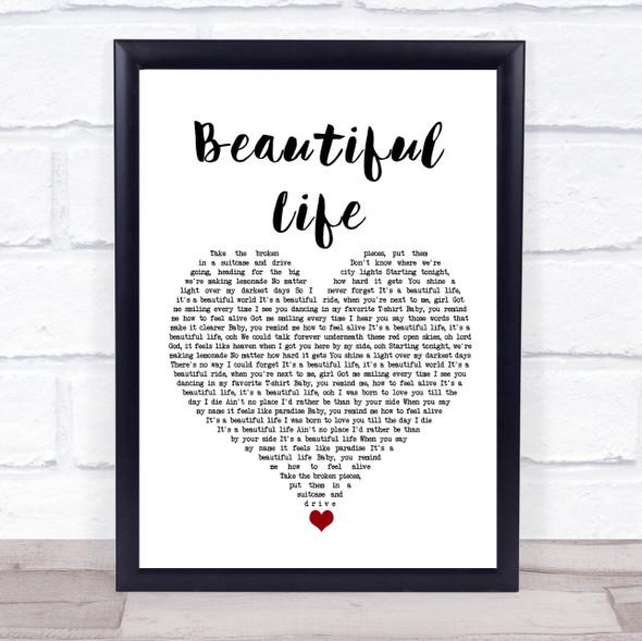 Zak Abel Beautiful Life White Heart Song Lyric Wall Art Print