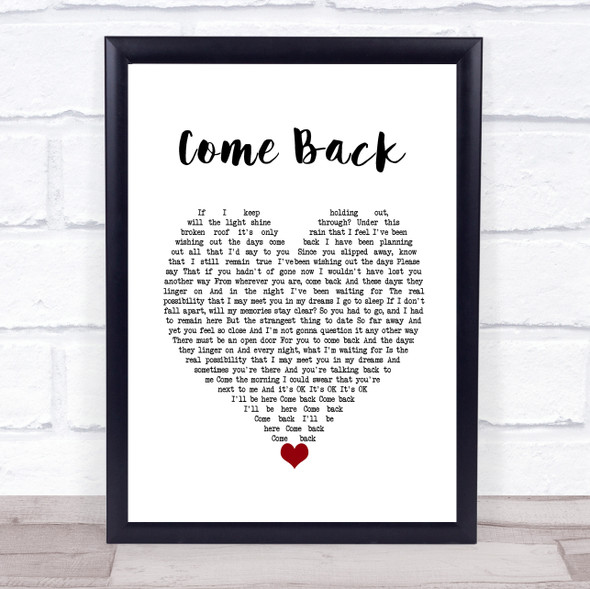 Pearl Jam Come Back White Heart Song Lyric Wall Art Print