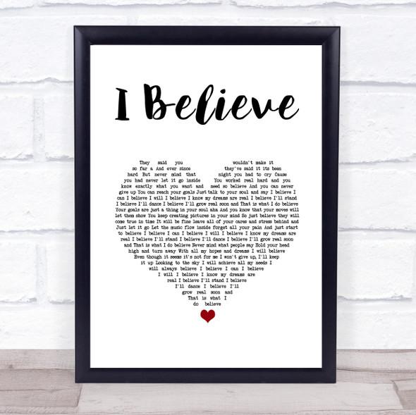 Yolanda Adams I Believe White Heart Song Lyric Wall Art Print