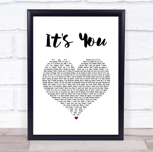 Ali Gatie It's You White Heart Song Lyric Wall Art Print