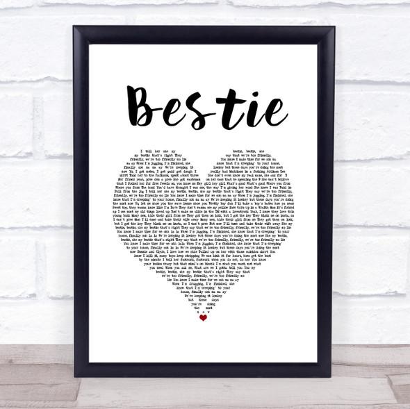 Yungen Bestie White Heart Song Lyric Wall Art Print