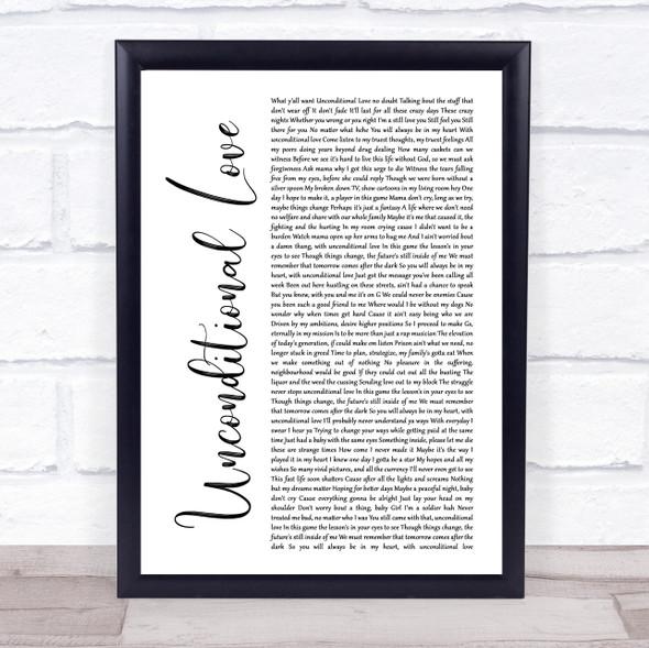 2Pac Unconditional Love White Script Song Lyric Wall Art Print