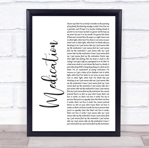 YUNGBLUD Medication White Script Song Lyric Wall Art Print