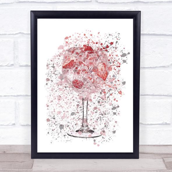 Watercolour Splatter Pink Gin & Berries Glass Wall Art Print