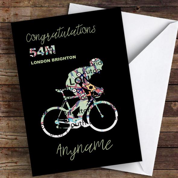 London To Brighton Bike Ride Map Silhouette Congratulations Personalised Card