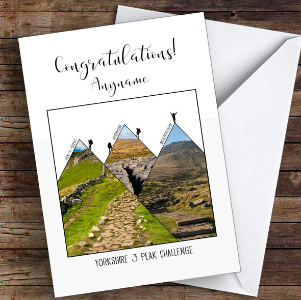 Yorkshire 3 Peaks Photographic Style Congratulations Personalised Greetings Card