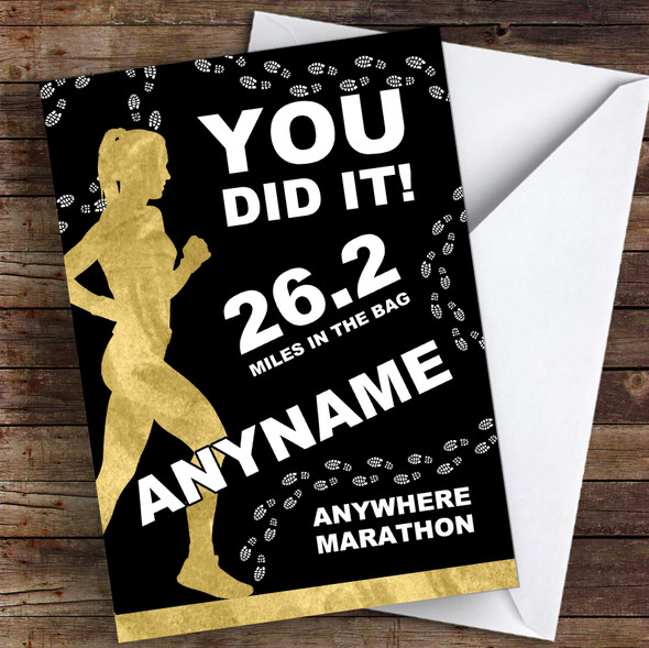 Marathon Black & Gold Style Female Fill-In Congratulations Personalised Card