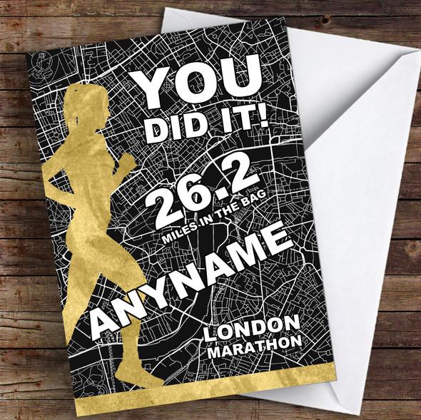 London Marathon Black & Gold Style Female Congratulations Personalised Card