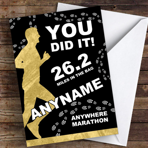 Marathon Black & Gold Style Male Fill-In Congratulations Personalised Card