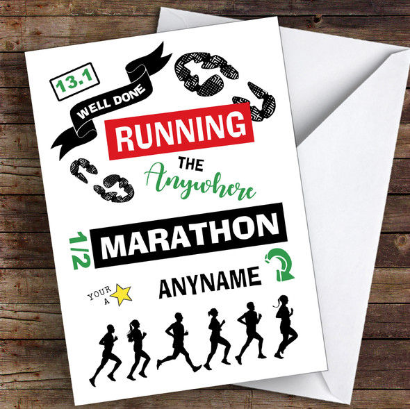 Running Anywhere Half Marathon Congratulations Personalised Greetings Card